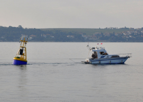 Buoy »Vida« after restoration on its way back to the sea (photo: T. Makovec)