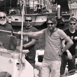 The team of biodiversity research on the boat